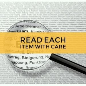read test items with care