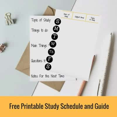 Free Printable Study Schedule and Guide