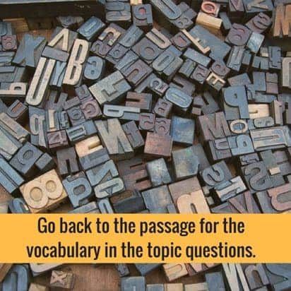 vocabulary in topic questions