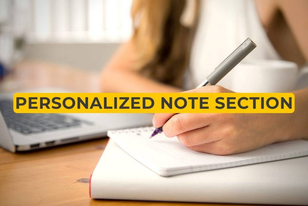 personalized note section